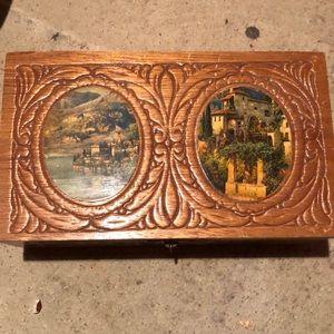 Carved wood trinket chest